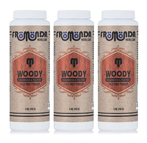 Fromonda Woody Talc-Free Body Powder. All Natural. (Pack of 3), 5 oz each - Body Talc