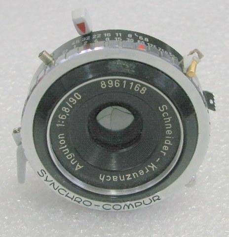 - Schneider-Kreuznach Angulon Camera Lens with Mechanical Shutter and Iris Aperture