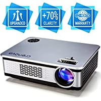 Portable LCD projector, 2018 Upgraded Crenova A76 Multimedia Home Theater 720P Video Projector with 180 Display+30% Lumens Compatible with Amazon Fire TV Stick, HDMI, VGA, USB, AV, SD for Home Theate