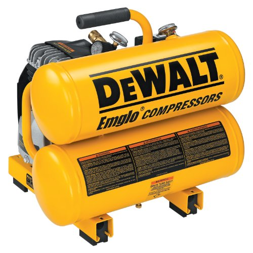 DEWALT D55151 14 Amp 1.1-HP 4-Gallon Oiled Twin Hot Dog Compressor (Best 4 Gallon Air Compressor)