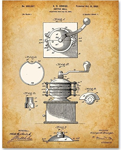 Coffee Mill - 11x14 Unframed Patent Print - Great Gift for Coffee Lovers ()