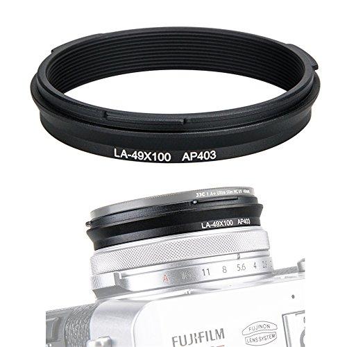 JJC 49mm Metal Filter Adapter Ring Lens Adapter Connector for Fujifilm X100F X100T X100S X100 X70 Installing UV Protector CPL Circular Polarizer ND Neutral Density Filter, Replaces Fuji AR-X100 /Black ()
