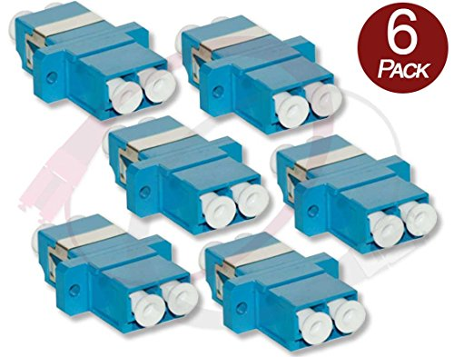 FiberCablesDirect - 6 Pk Duplex LC Couplers | Female to Female Fiber Optic Coupler/Adapter | Singlemode / Multimode, LC(F) to LC(F) Coupler | f/f lc/lc female/female adapter sm mm 6-pack