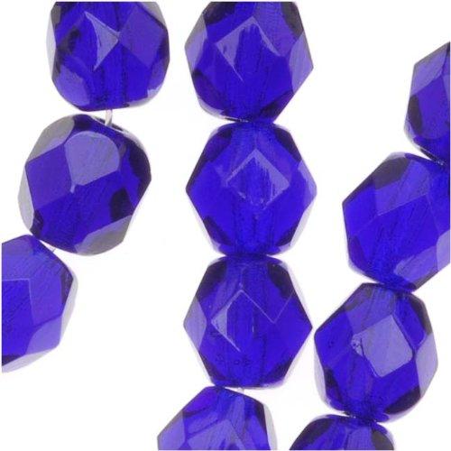 Czech Fire Polish Glass Beads 6mm Round Cobalt Blue (25) 940031