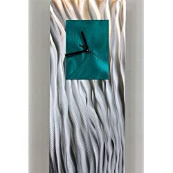 Unique Hand-Crafted Abstract Silver and Teal Metal Wall Clock - Modern Contemporary Functional Home Decor Art Sculpture - Ocean Energy by Jon Allen -24-inch