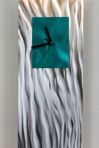 Unique Hand-Crafted Abstract Silver and Teal Metal Wall C...