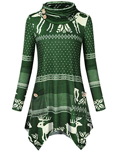 Hibelle Juniors Tops, Womens Trendy Sweatshirts Elk Christmas Holiday Sweater Tunic for Winter Button Decor Turtle Neck Long Sleeve Shirt Aline Pockets Irregular Hem Blouses Army Green -