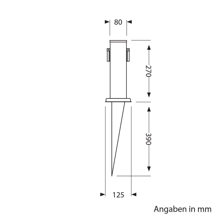 Acier Inoxydable 2-Fach Angulaire 2 pcs ledscom.de Garten-Steckdosen-S/äule Polly avec Piquet de Terre pour lext/érieur 27cm