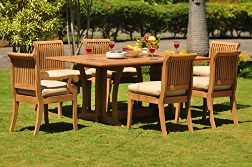 TeakStation 6 Seater 7 Pc Grade-A Teak Wood Dining Set: 69