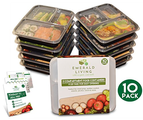 |10 pack| 3 Compartment Meal Prep Food Containers Bento Box Set with Lids. Dishwasher, Microwave & Freezer Safe. Stackable, Reusable & BPA Free Plastic Food Storage / Lunch Box Containers + EBook (Oven Safe Small Glass Bowls compare prices)