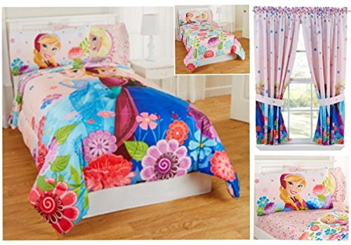 Amazon.com: FROZEN ANNA and ELSA FLORAL BREEZE Twin COMFORTER+ FULL  SHEETS+CURTAINS SET: Home & Kitchen - Amazon.com: FROZEN ANNA And ELSA FLORAL BREEZE Twin COMFORTER+