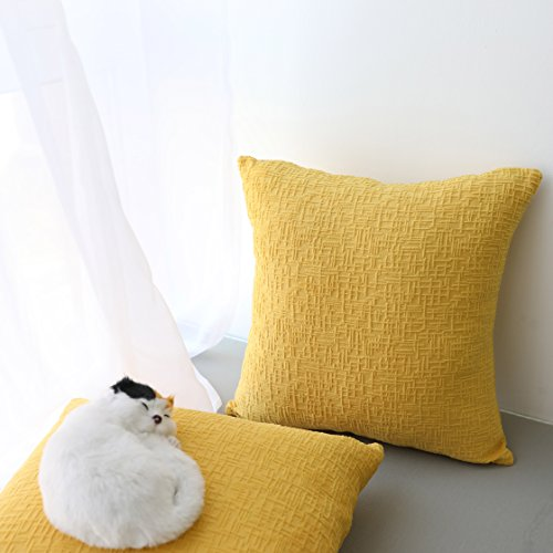Kevin Textile Decor Soft Solid Velvet Toss Throw Pillow Cover Spring Fashion Striped Decorative Pillow Case Handmade Cushion Cover for Couch, 18x18 inches,2 Pieces,Primrose Yellow (Mustard Yellow Pillow)
