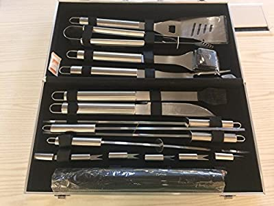 BBQ Grill Tools Set,18-Piece Utensil BBQ tool set & Grill Mats Stainless Steel Barbecue Grilling Utensils With Spatula Aluminum, Tongs, Fork,Basting Brush Fork,Corn Holders and Storage Case from China OEM