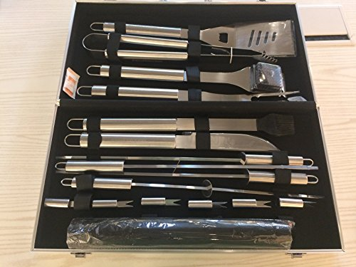 BBQ Grill Tools Set,18-Piece Utensil BBQ tool set & Grill Mats Stainless Steel Barbecue Grilling Utensils With Spatula Aluminum, Tongs, Fork,Basting Brush Fork,Corn Holders and Storage (Barbecue Utensil)