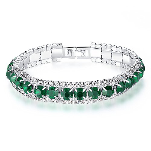 Yalice Fashion Bride Strand Row Crystal Wedding Chain Bracelet Rhinestone Bridal Bangle Jewelry for Women and Girls (Green)