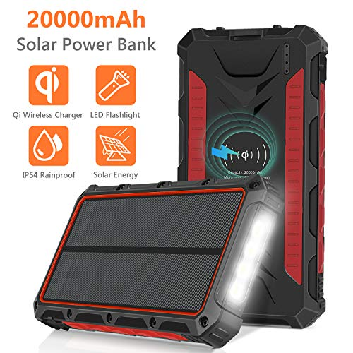 Solar Charger 20000mAh, Qi Wireless Portable Solar Power Bank, Waterproof External Backup Battery Pack with 4 Output&Input, LED Flashlight,Carabiner for Smart Phone,Tablets and More-Red (Power Bank For Smart Phones)