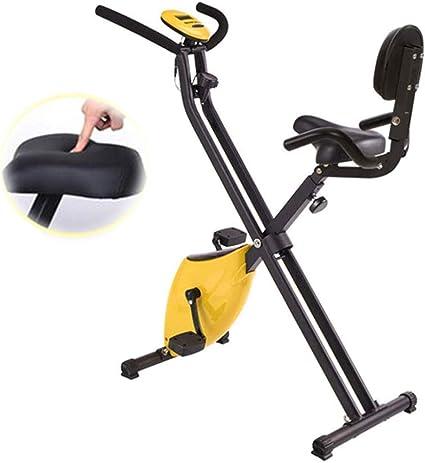 LCYZ Plegable Bicicleta Estática,Mini Bicicleta Spinning para Interiores 2 Poleas, Equipo de Entrenamiento Mute Slimming, Asiento Elevación 5 Velocidades (con Respaldo): Amazon.es: Deportes y aire libre