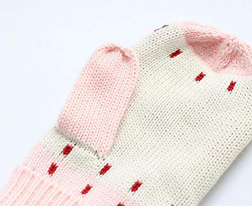 ACVIP Little Girls Cotton Blend Knit Cold Weather Stringed Mitten Gloves