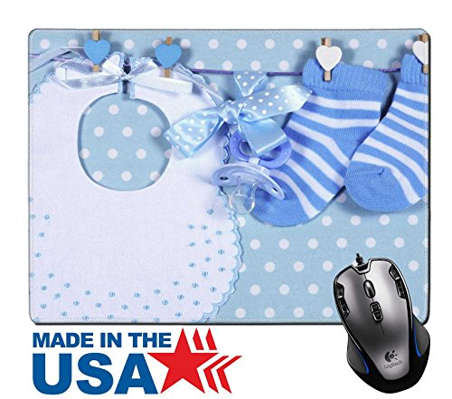 """MSD Natural Rubber Mouse Pad/Mat with Stitched Edges 9.8"""" x 7.9"""" Baby boy nursery blue socks and bib with dummy pacifier hanging from pegs on a line IMAGE 28242896 Stain Resistance Kit Kitchen Table T (Motherhood Kit)"""