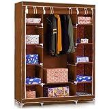 Anva Fancy Double Door Large Maroon Portable Multipurpose Waterproof Fabric Wardrobe Closet Organizer