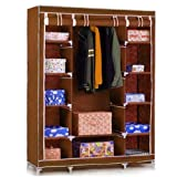 Krishyam Multipurpose Fancy And Portable Foldable Closet Wardrobe Cabinet With Shelves 3.5 Feet (Need To Be Assembled)