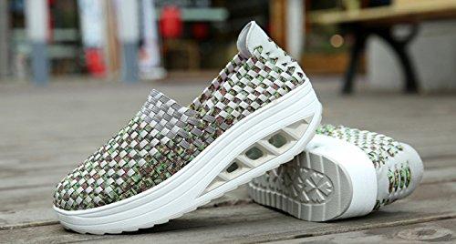 Chaussures travail légères tonifiantes légères vert femmes pour fitness augmenter sport pour imperméables de baskets et tissées VECJUNIA de la chaussures hauteur élégantes gris gdWSqaxn
