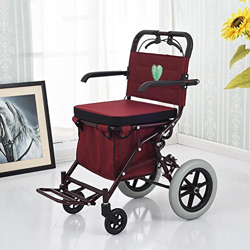 LUCKYYAN Foldable Trolley with Seat, Red Wine Shopping Grocery Cart with Brakes and Shopping Baskets