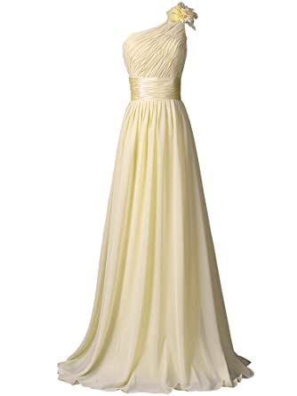 WAWALI One Shoulder Flower Prom Dresses Evening Party Gowns 2 Beige