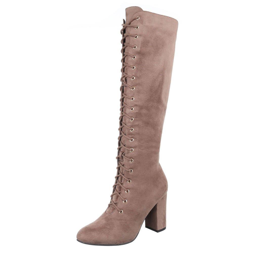 Ital-Design High Heel Stiefel Damenschuhe High Heel Stiefel Pump High Heels Reißverschluss Stiefel  38 EU|Hellbraun