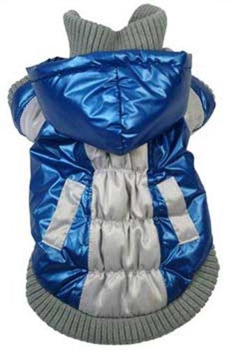 Aspen Vintage Dog Ski Coat with Removable Hood SizeColor – Blue, My Pet Supplies