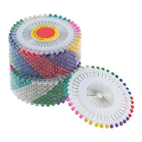 FairytaleMM 480pcs del Multicolor de Cabeza Redonda de Perlas de imitación Decoración alfiler de Costura Pin