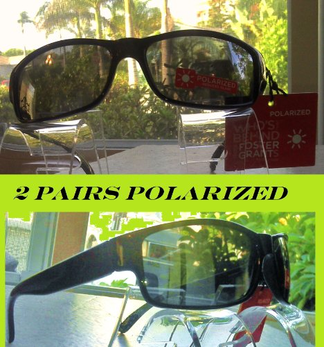 2 Pairs Foster Grant Black Polarized Sunglasses with Spring Hinges