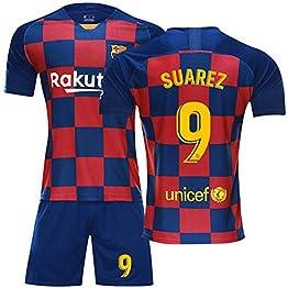 FNBA Fútbol Club Barcelona Extérieur Domicile Suarez # 9 Enfants Maillot et Short de Foot Jeunes, Costume Athletic Apparel Vêtements pour hommes-3-S