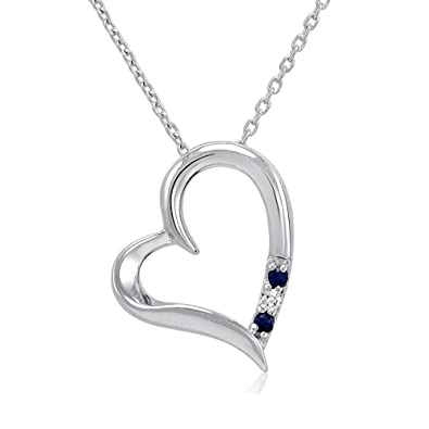 Amazon 3 stone sapphire and diamond open heart pendant 3 stone sapphire and diamond open heart pendant necklace in sterling silver 18quot aloadofball Images