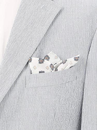 (ザ・スーツカンパニー) Daniel/小紋柄 シルクポケットチーフ ホワイト×ブラウン