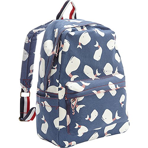 Ashley M Screen Printed Whales On Cotton Laptop Backpack (Blue) - Back Screen Printed