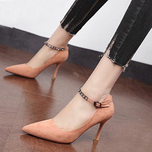 perforación Corte y Qiqi Heel de Punta plano Shoes zapatos zapatos trabajo Rosa Xue zapatos satin delgado Negra alta solo agua hembra los de 67f5xq