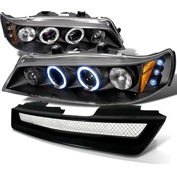 Honda Accord Lx Ex Black Led Halo Projector Headlights, Black Grille