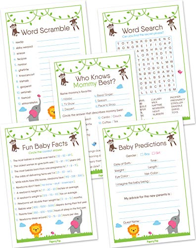 Baby Shower Games for Boys or Girls - Set of 5 Activities - (50 Cards Each, 250 Total) - Baby Shower Supplies - Safari Jungle Zoo Animals]()