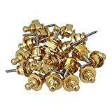 Yibuy Guitar Bass Round Head Security Strap Lock Button Knobs Golden Set of 40