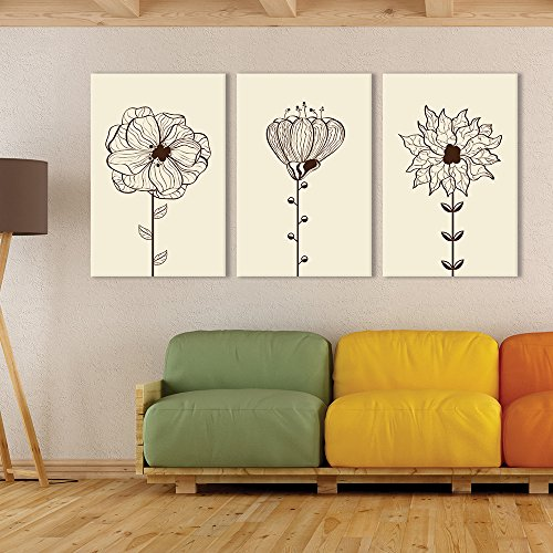 3 Panel Hand Drawing Style Flowers on Light Yellow Background x 3 Panels