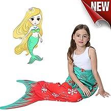 "Mermaid Tail Blanket For Girls Soft Plush Fleece Sleeping Bag to Keep Warm All Seasons Blanket for Girl toddler Teens,Halloween Christmas Birthday Gift (52""x 22"" Red) (Red)"