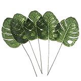 QSCQ 5X Large Big Tropical Leaves Artificial Silk Palm Plant Leaves Hawaiian Summer Party BBQ Wedding Home Decor