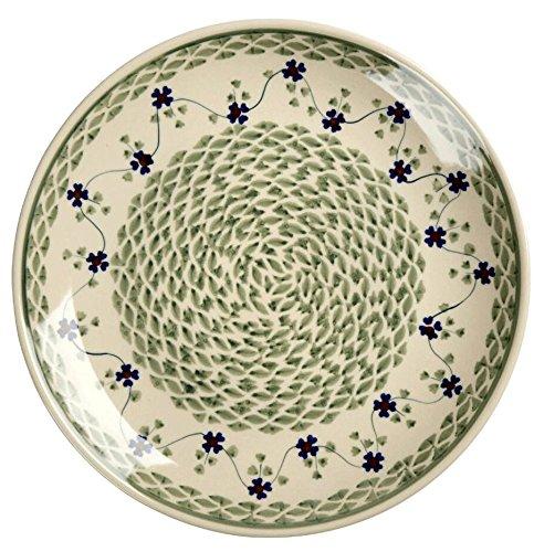 Polish Pottery Floral Basketweave Handmade Dinner Plate, 10.5-Inch