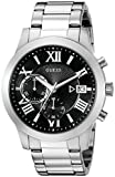 GUESS Men's U0668G3 Sporty Silver-Tone Watch with Black Chronograph Dial and Date Function