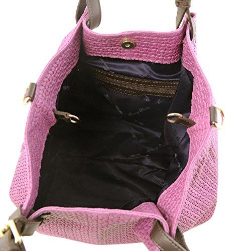Tuscany Leather TL KeyLuck Bolso shopping TL SMART en piel imprimida tejida - Tamaño grande Violeta Bolsos de asa larga Violeta