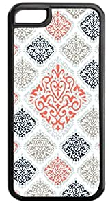01-Large and Small Damasks-Pattern- Case for the APPLE IPHONE 5c ONLY-Hard Black Plastic Outer Case