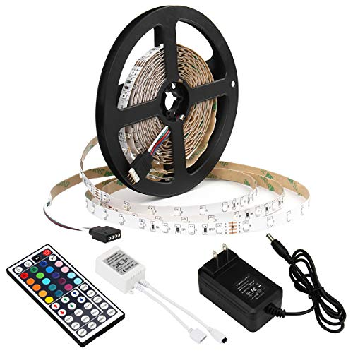 - SUPERNIGHT 5M/16.4 Ft SMD 3528 RGB 300 LED Color Changing Kit with Flexible Strip Light+44 Key IR Remote Control+ Power Supply