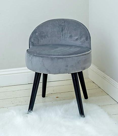 Tremendous Sr Dark Grey Velvet Vanity Dressing Table Stool Chair With Half Moon Shaped Backrest Black Legs Bralicious Painted Fabric Chair Ideas Braliciousco