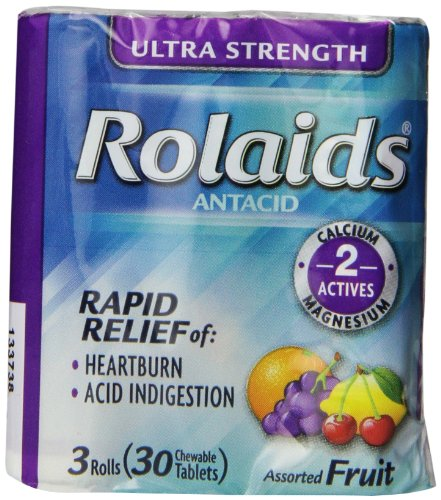 Rolaids Ultra Strength Tablets, Fruit, 3 Count (Pack of 12)